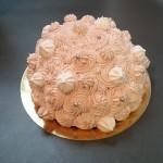 Dôme au citron et à la framboise : génoise, crème citron et éclats de framboises, glaçage rose au mascarpone.